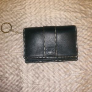 Black Leather wallet with keychain